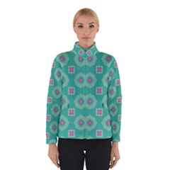 Pink flowers and other shapes pattern  Winter Jacket