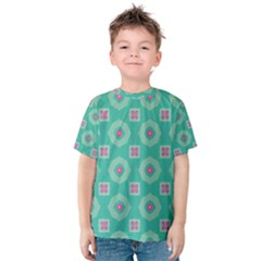 Pink Flowers And Other Shapes Pattern  Kid s Cotton Tee