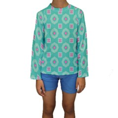 Pink Flowers And Other Shapes Pattern   Kid s Long Sleeve Swimwear
