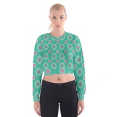 Pink flowers and other shapes pattern    Women s Cropped Sweatshirt