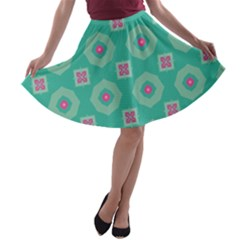 Pink flowers and other shapes pattern  A-line Skater Skirt