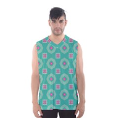 Pink Flowers And Other Shapes Pattern  Men s Basketball Tank Top