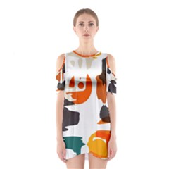 Shapes in retro colors on a white background Women s Cutout Shoulder Dress