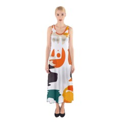 Shapes In Retro Colors On A White Background Full Print Maxi Dress