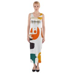 Shapes in retro colors on a white background Fitted Maxi Dress