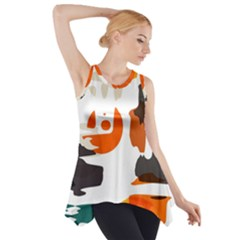 Shapes in retro colors on a white background Side Drop Tank Tunic