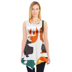 Shapes In Retro Colors On A White Background Sleeveless Tunic