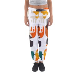 Shapes in retro colors on a white background Women s Jogger Sweatpants