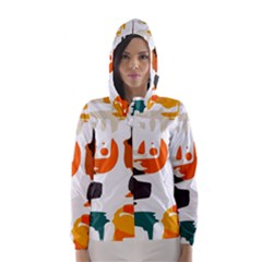 Shapes in retro colors on a white background Hooded Wind Breaker (Women)