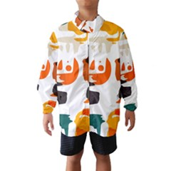 Shapes in retro colors on a white background Wind Breaker (Kids)