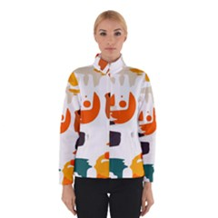 Shapes In Retro Colors On A White Background Winter Jacket