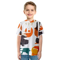 Shapes in retro colors on a white background Kid s Sport Mesh Tee