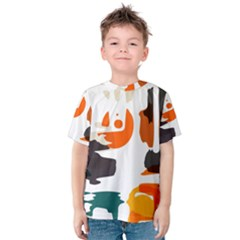 Shapes In Retro Colors On A White Background Kid s Cotton Tee