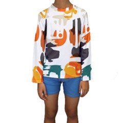 Shapes in retro colors on a white background  Kid s Long Sleeve Swimwear
