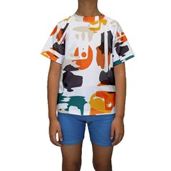 Shapes in retro colors on a white background  Kid s Short Sleeve Swimwear