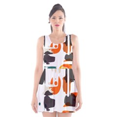 Shapes in retro colors on a white background Scoop Neck Skater Dress