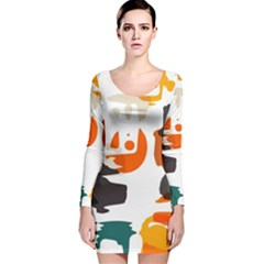 Shapes in retro colors on a white background Long Sleeve Velvet Bodycon Dress