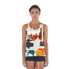 Shapes in retro colors on a white background Women s Sport Tank Top