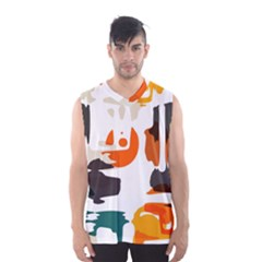 Shapes in retro colors on a white background Men s Basketball Tank Top