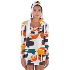 Shapes in retro colors on a white background Women s Long Sleeve Hooded T-shirt