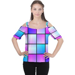 Gradient squares pattern  Women s Cutout Shoulder Tee