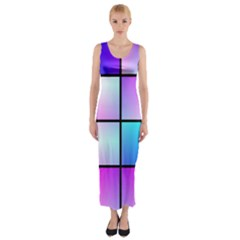 Gradient squares pattern  Fitted Maxi Dress