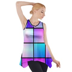 Gradient squares pattern  Side Drop Tank Tunic