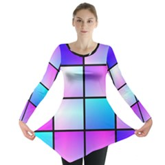 Gradient squares pattern  Long Sleeve Tunic
