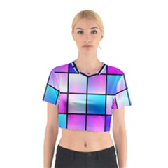 Gradient squares pattern  Cotton Crop Top