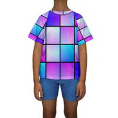 Gradient squares pattern   Kid s Short Sleeve Swimwear