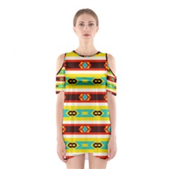 Rhombus stripes and other shapes Women s Cutout Shoulder Dress