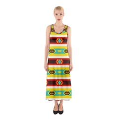 Rhombus Stripes And Other Shapes Full Print Maxi Dress