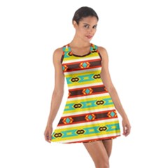 Rhombus Stripes And Other Shapes Cotton Racerback Dress