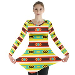 Rhombus Stripes And Other Shapes Long Sleeve Tunic