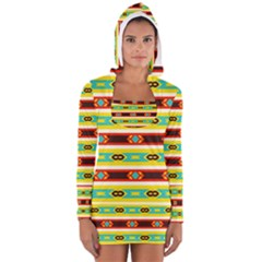 Rhombus Stripes And Other Shapes Women s Long Sleeve Hooded T Shirt
