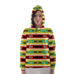 Rhombus stripes and other shapes Hooded Wind Breaker (Women)