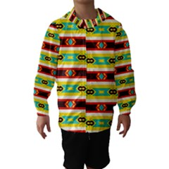 Rhombus stripes and other shapes Hooded Wind Breaker (Kids)