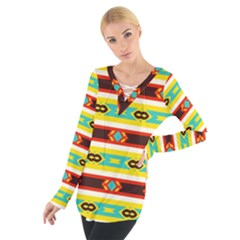 Rhombus Stripes And Other Shapes Women s Tie Up Tee