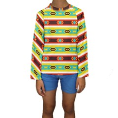 Rhombus Stripes And Other Shapes  Kid s Long Sleeve Swimwear