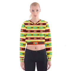 Rhombus Stripes And Other Shapes   Women s Cropped Sweatshirt