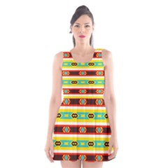Rhombus stripes and other shapes Scoop Neck Skater Dress