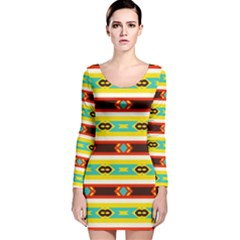 Rhombus stripes and other shapes Long Sleeve Velvet Bodycon Dress