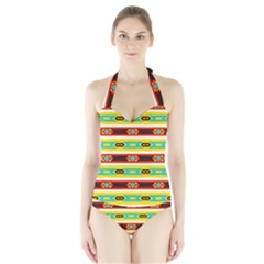 Rhombus Stripes And Other Shapes Women s Halter One Piece Swimsuit