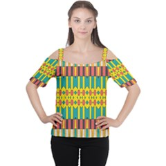 Shapes and stripes  Women s Cutout Shoulder Tee
