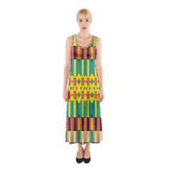 Shapes and stripes  Full Print Maxi Dress
