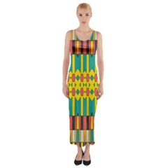 Shapes and stripes  Fitted Maxi Dress