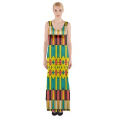 Shapes And Stripes  Maxi Thigh Split Dress