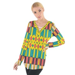 Shapes and stripes  Women s Tie Up Tee