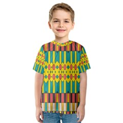 Shapes And Stripes  Kid s Sport Mesh Tee
