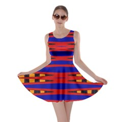 Bright Blue Red Yellow Mod Abstract Skater Dress